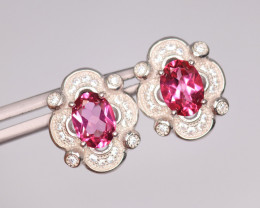 Attractive Natural Pink Topaz, CZ & 925 Fancy Sterling Silver