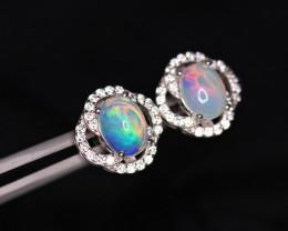Fabulous Natural Fire Opal, CZ & 925 Fancy Sterling Silver
