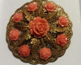 ANTIQUE - VINTAGE - FILIGREE PINK SALMON CORAL CARVED ROSE BUDS!