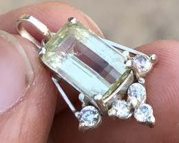 Natural Heliodor Handmade Pendant With CZ