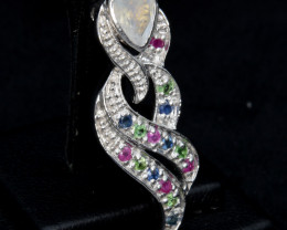 Multi-Stone Moon Stone, Ruby, Sapphire, Chrome Diopside Silver Pendant