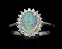 AAA Beautiful Natural Fire Opal & CZ Silver Ring