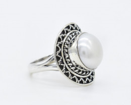 PEARL  RING 925 STERLING SILVER NATURAL GEMSTONE AR1680