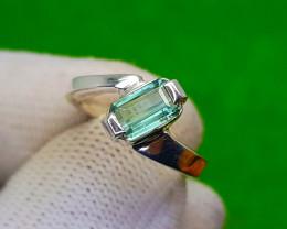 Natural Green Tourmaline Hand Made Ring
