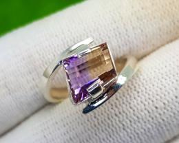 Natural BI Colour Bolivian Ametrine Hand Made Ring