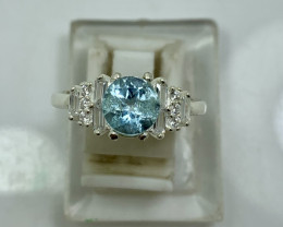 Natural 19.00 Carats Round Blue Topaz 925 Silver Ring
