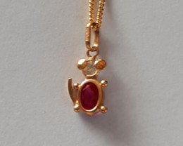 CRYSTAL BABY MOUSE 9K Gold Pendant  Code 1910012_2