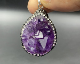 77.70 Cts Beautiful Rough Amethyst with Hematite & Cz Pendant. Amt-582