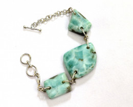 Hugh Bold Natural Sky Blue .925 Sterling Silver Bracelet 6.2inch + extensio