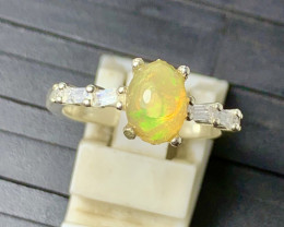 Natural 15.00 Carats Multi Fire Opal 925 Silver Ring