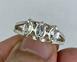 Natural 17.00 Carats  fancy aquamarine hand made 925 Silver Ring