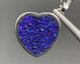 Super Cute Heart Shape Beautiful Druzy Aura Pendant. Ar-5282