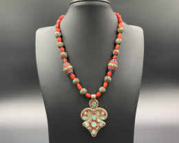 Extraordinary Natural Coral with Nepalese Beads & Pendant Necklace. Cor-56