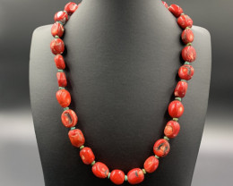 Beautiful Red Coral With Tibetan Turquoise Necklace. Cor-59