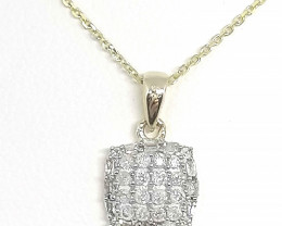 CERTIFIED Gold Diamond Pendant with Chain 0.25tcw.