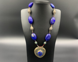 Vintage Natural Lapis Lazuli With Old Handmade Lapis Pendant Necklace. Ll-5