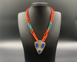 Excellent Design, Coral &Turquoise With Lapis Pendant Necklace. Cor-839