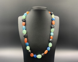 Beautiful Carnelian Agate with Multi Chalcedony Necklace. Cr-693