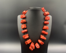 Beautiful Design, Tumble Red Coral Necklace. Cor-9317