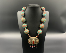 Extraordinary Traditional Old Painted Wood beads with Agate Pendant Necklac
