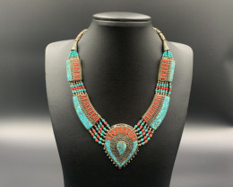 Beautiful Handmade Turquoise & Coral Nepalese Traditional Necklace. Nep-597