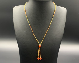 Exclusive Beautiful Natural Rare Sapphire With Carnelian Beads Necklace. Sp