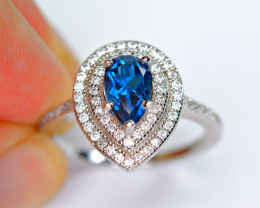 Natural London  Blue Topaz , CZ 925 Silver  Amazing Ring