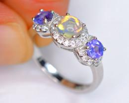 Natural 2Pis Tanzanite , 1pis Top Fire Opal , CZ 925 Silver Amazing Ring