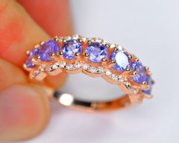 Natural 4mm 7Pieces Tanzanite, CZ 925 Silver Gold Plated Ring