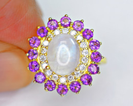 Natural 16 Pis Amethyst , Rainbow Moonstone , CZ 925 Silver Gold Plated R