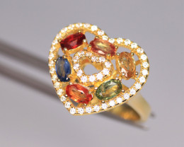 Gorgeous Natural Multi Sapphire,  CZ & 925 Fancy Yellow Sterling Silver