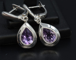 AAA Natural Amethyst Silver Earrings 24.34 Cts Unique Design