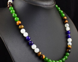 Genuine 254.00 Cts Jade , Tiger Eye , Amethyst & Moonstone Beads Necklace
