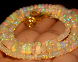 39.45 Crts Natural Ethiopian Welo Opal Beads Necklace 803