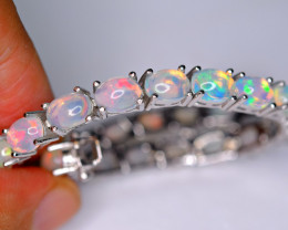 Natural 25 Pieces AAA Multi Fire 925 Silver Amazing Bracelet