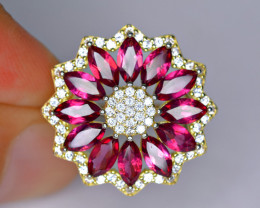 Natural AAA 12 Pis Rhodolite Garnet ,CZ 925 Silver Gold Plated Ring