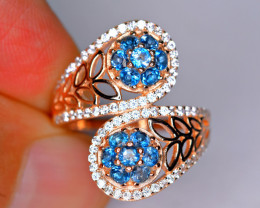 Natural Amazing London blue Topaz , CZ 925 Silver Nice Design Ring