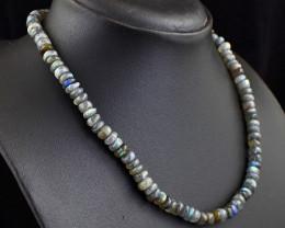 Genuine 195.00 Cts Amazing Flash Labradorite Beads Necklace