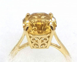 SOLID GOLD - AAA Citrine Solitaire Ring 3.75cts.