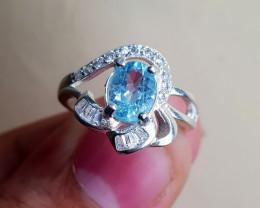 Natural Blue Topaz 16.70 Carats 925 Silver Ring