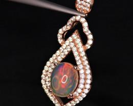 Fabulous Natural Multi Fire Opal, CZ & 925 Fancy Rose Gold Sterling Silver
