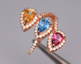 Gorgeous Natural Multi Stones, CZ & 925 Fancy Rose Gold Sterling Silver Rin