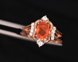 Gorgeous Natural Orange Fire Opal, CZ & 925 Fancy Rose Gold Sterling Silver