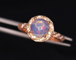 Gorgeous Natural Multi Fire Opal, CZ & 925 Fancy Rose Gold Sterling Silver