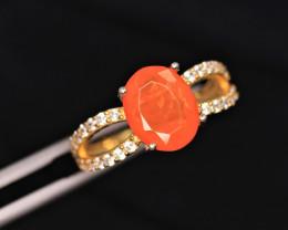 Gorgeous Natural Orange Fire Opal, CZ & 925 Fancy Yellow Sterling Silver Ri