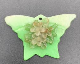 Beautiful Butterfly Fancy Flower Carving Pendant. Pn-592
