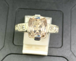 30 Carats Peach Morganite With Cz 925 Silver Ring