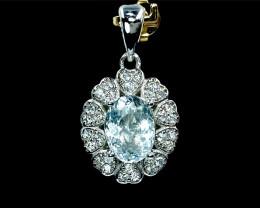 2.23ct.Alluringly Natural Aquamarine Gemstone Silver925 Pendant.DAQ369
