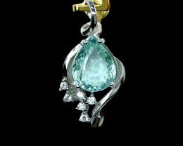 2.30ct.Aesthetic Natural Aquamarine Gemstone Silver925 Pendant.DAQ371