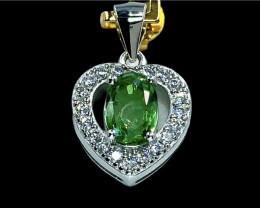 1.04ct.Elegant Natural Tsavarite Garnet Silver925 Pendant.DTS374